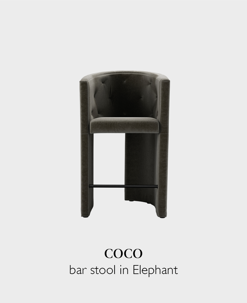 Coco velvet tall bar stool in Elephant grey with back