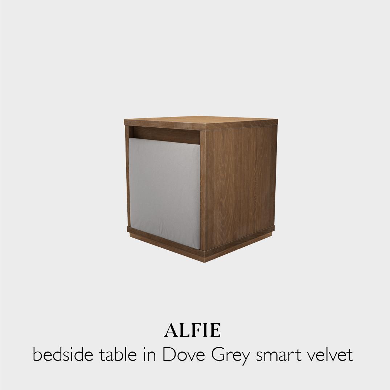 Alfie bedside table in dove grey smart velvet fabric