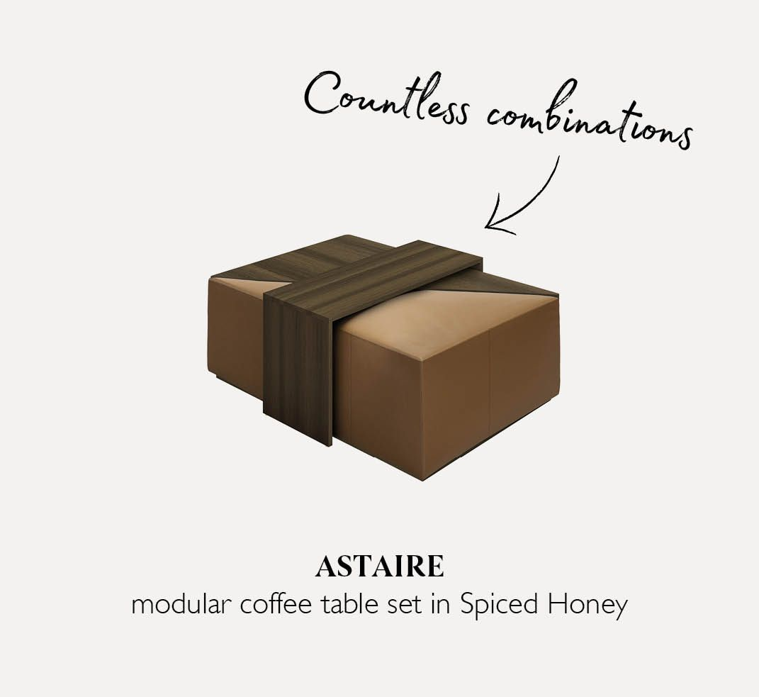 Astaire coffee table set in Spiced Honey