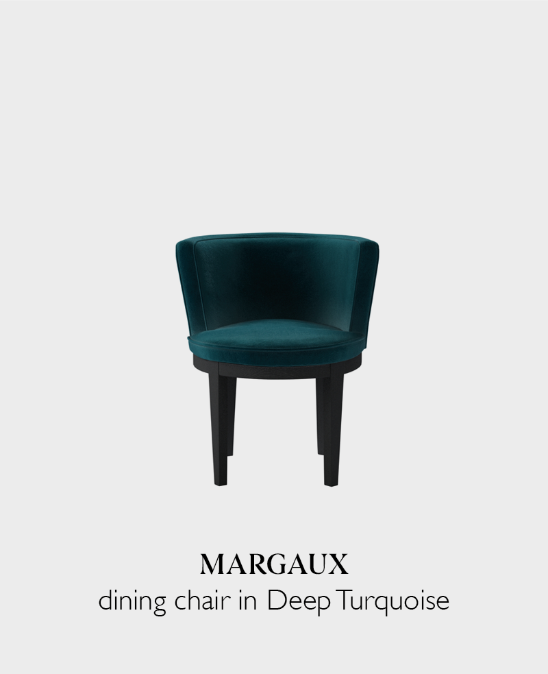 Margaux velvet dining chair in deep turquoise