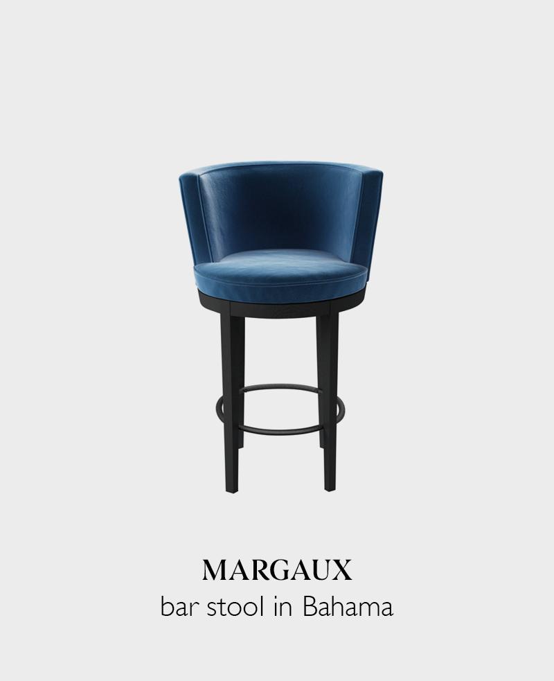 Margaux velvet bar stool in Bahama blue with back