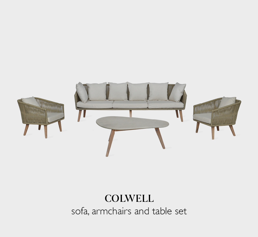 Colwell garden sofa set with armchairs and table set