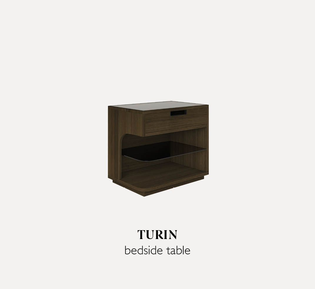 Turin wooden bedside table