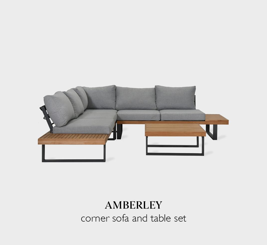 Amberley garden corner sofa with table set