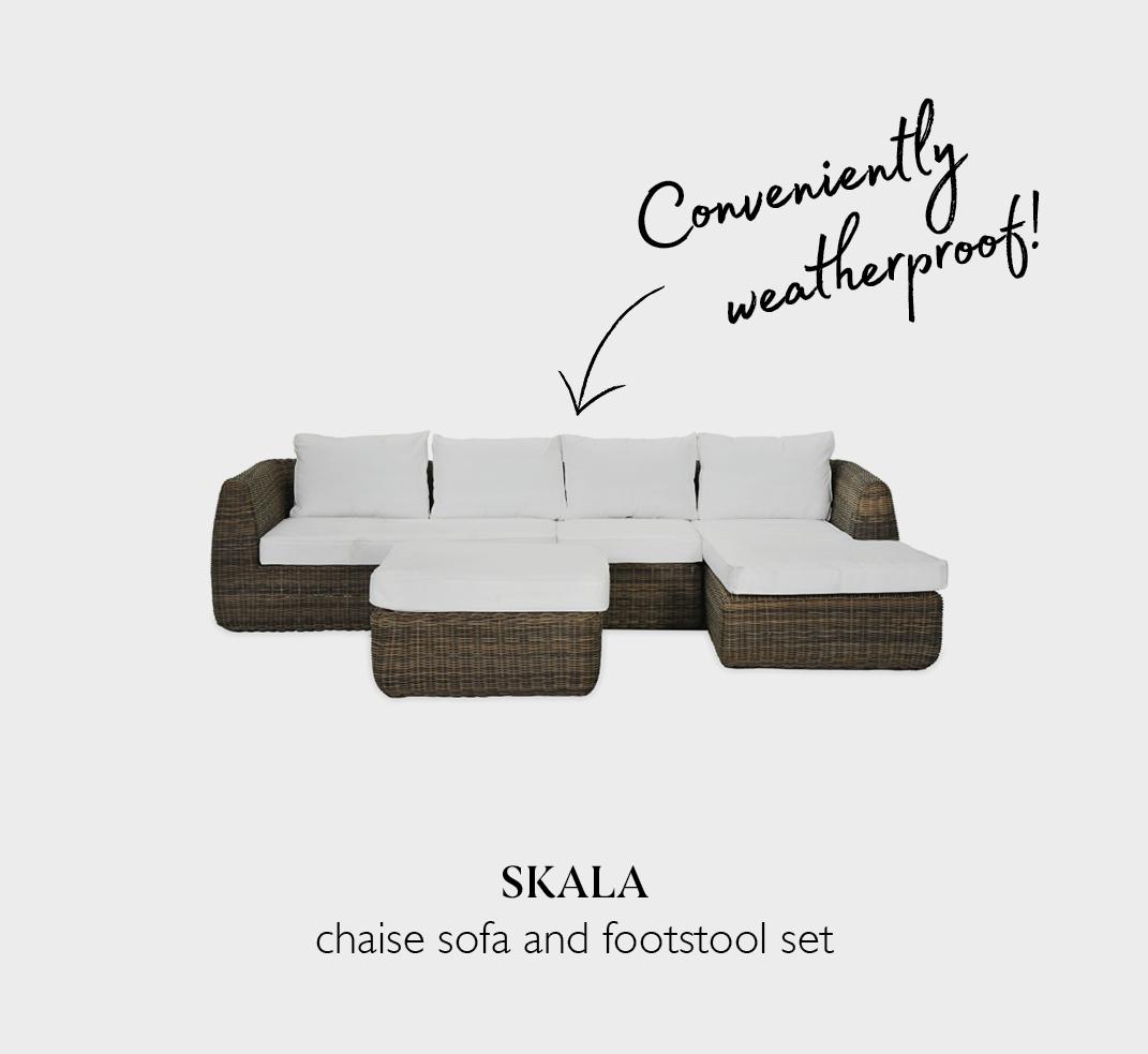 Skala chaise rattan sofa and footstool set