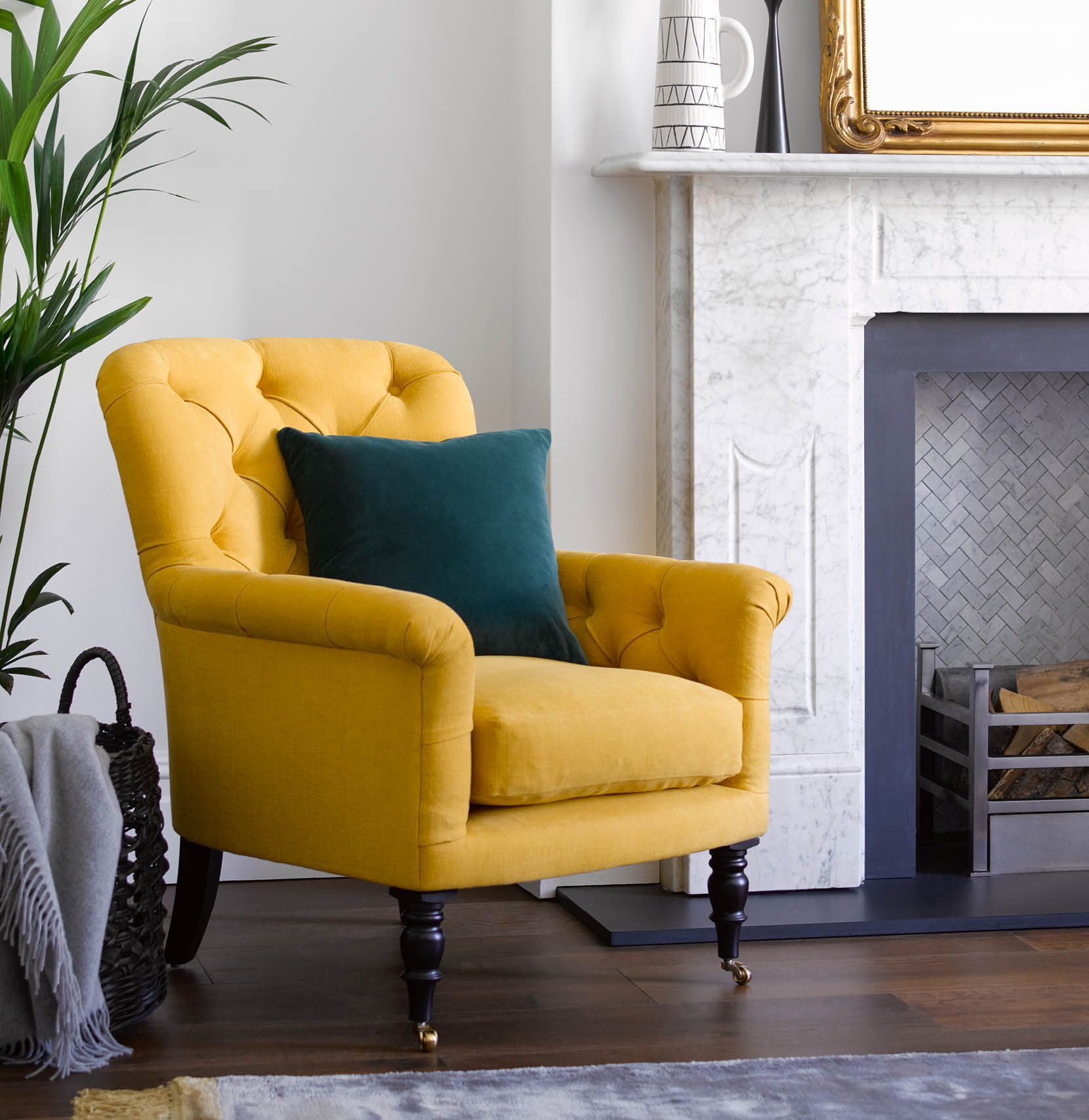 Poppy yellow armchair in Mango brushed linen cotton fabric in modern living room