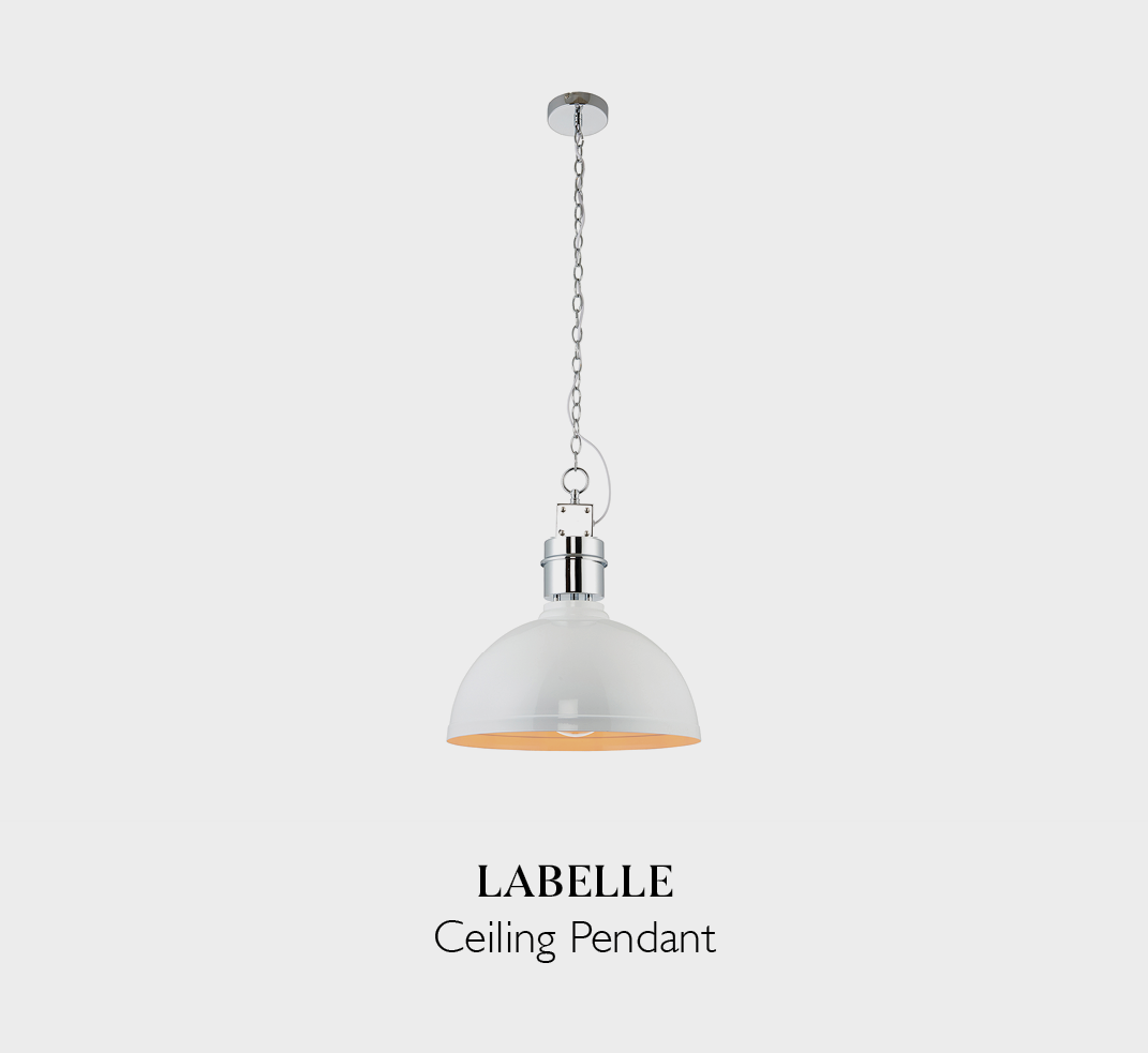 LaBelle contemporary wall pendant in a bright white finish fitted with an industrial style silver coloured chain fixture