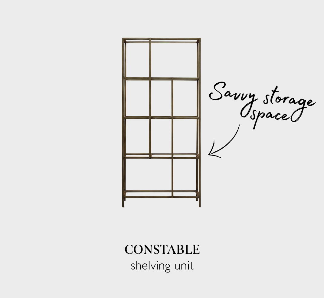 Constable industrial-chic shelving unit in bronze