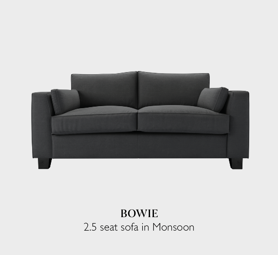 Bowie two and a half seat sofa in Monsoon fabric a grey brushed linen cotton