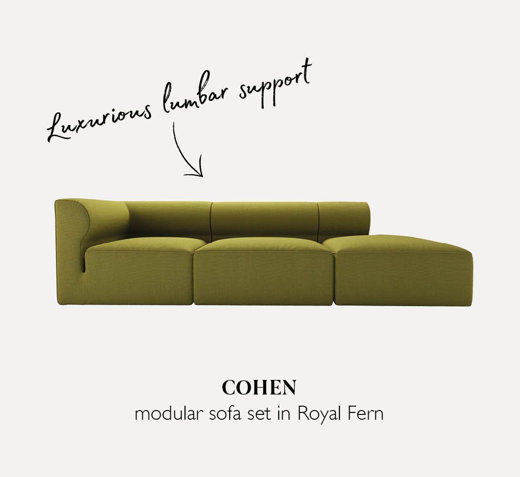 Cohen modular sofa set in Royal Fern