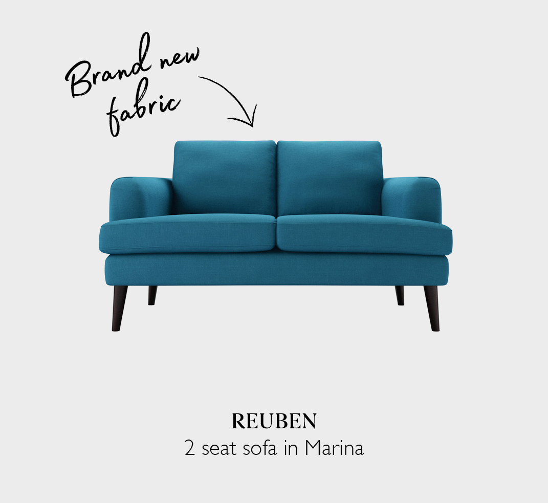 Reuben two seat sofa in Marina fabric a blue brushed linen cotton
