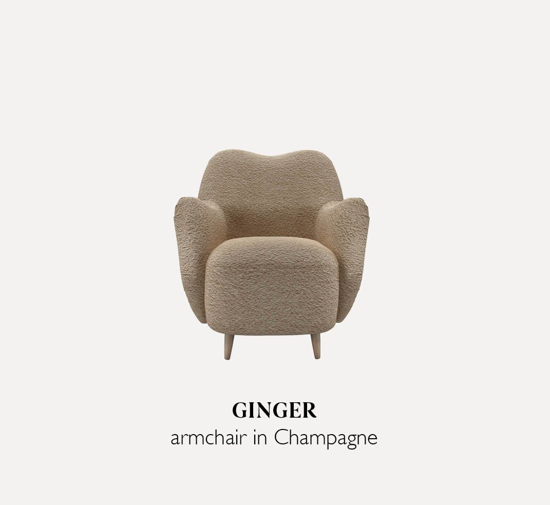 Ginger armchair in Champagne Luxe Boucle
