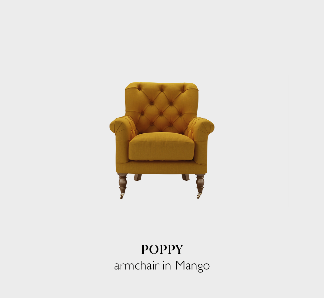 Poppy accent armchair in Mango fabric a yellow brushed linen cotton