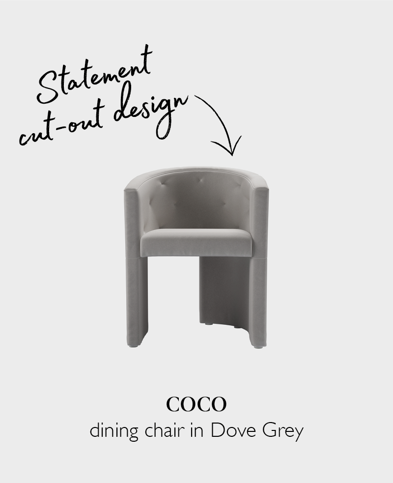 Coco velvet dining chair in Dove grey with statement cut-out design