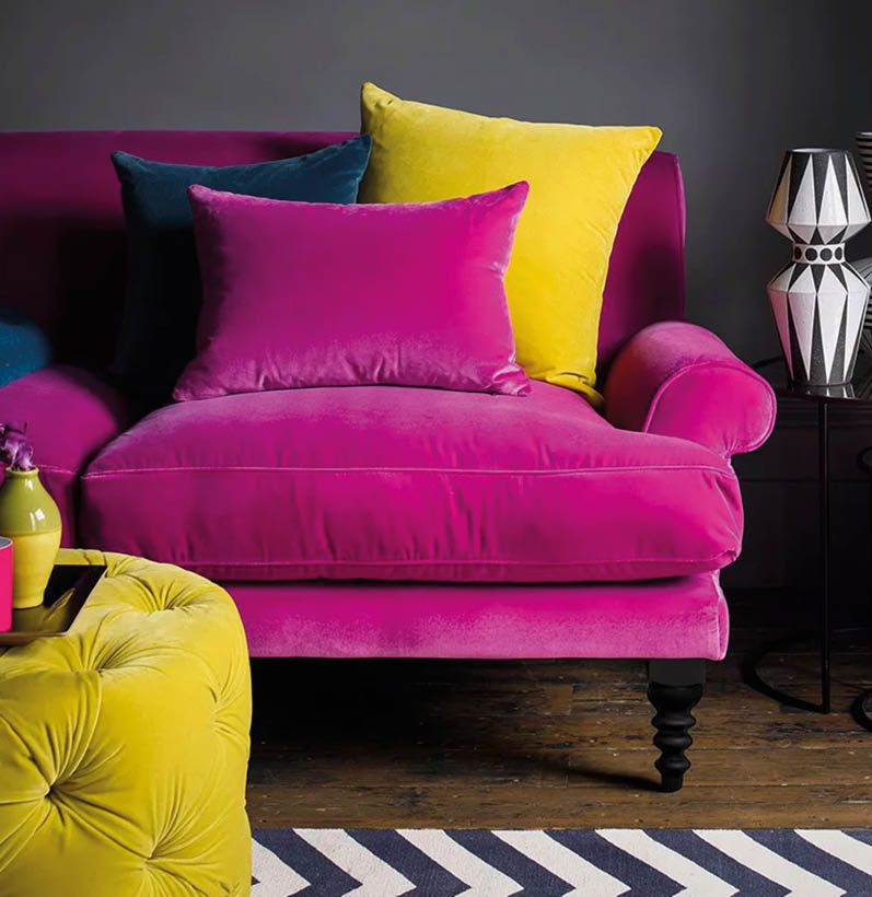 Saturday Peony pink velvet sofa with yellow, blue and pink cushions
