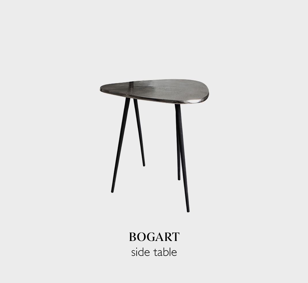 Bogart small side table with stylish aluminium and iron copper finish table top